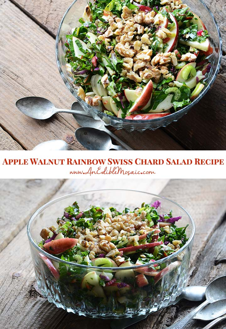 Apple Walnut Rainbow Swiss Chard Salad Recipe Recipe Rainbow Chard Recipes Chard Recipes Swiss Chard Recipes