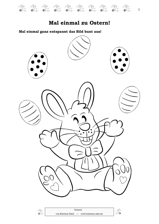 Ausmalbild, Zahlen-Malen und Suchbilder zum Thema Ostern