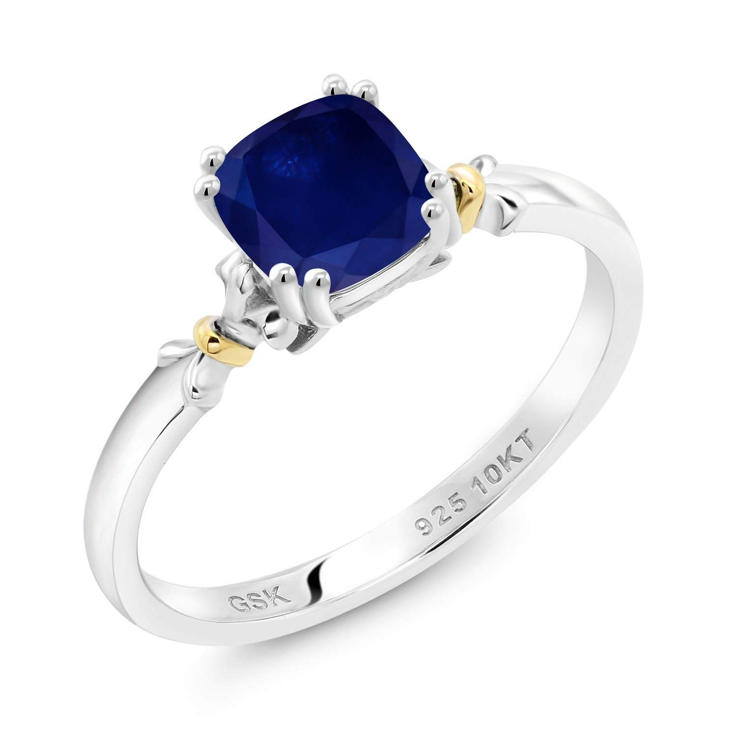 925 Silver And 10k Yellow Gold 1 30 Ct Cushion Blue Sapphire Women Engagement Ring Blue Sapphire Rings Blue Sapphire Sapphire Ring