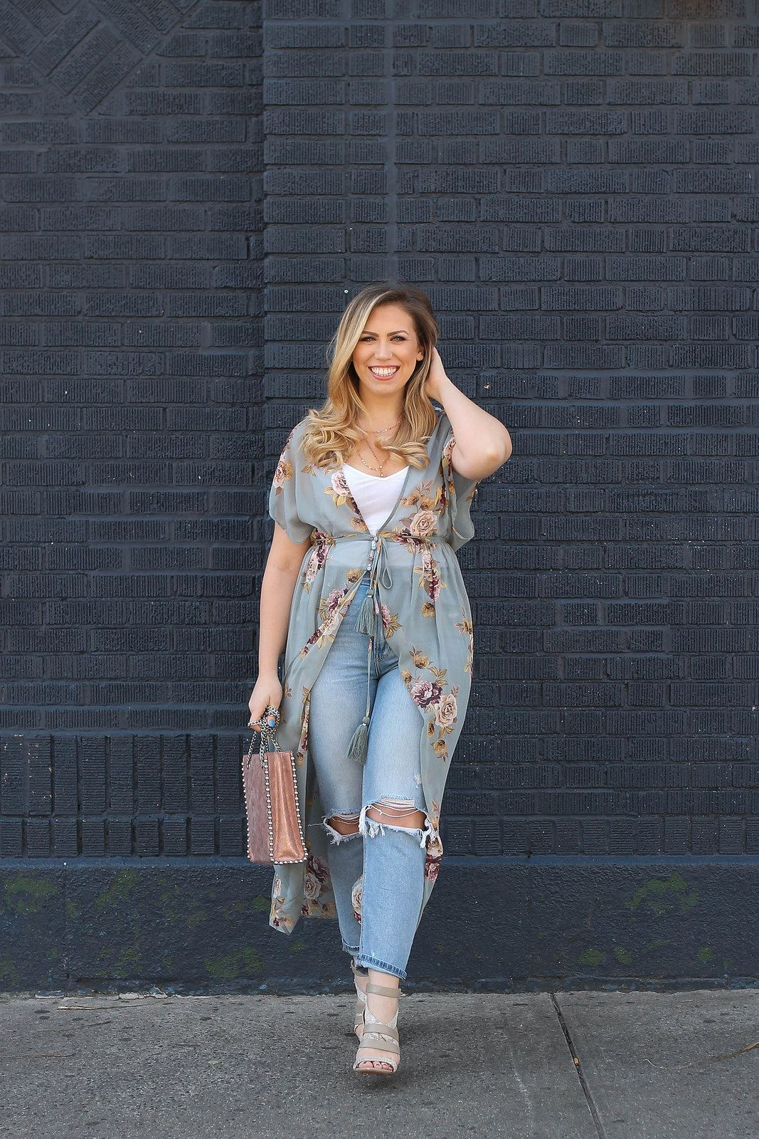 Floral Duster Sheer Kimono Outfit Mom Jeans Rose Gold Studded Zara Bag Spring Feminine