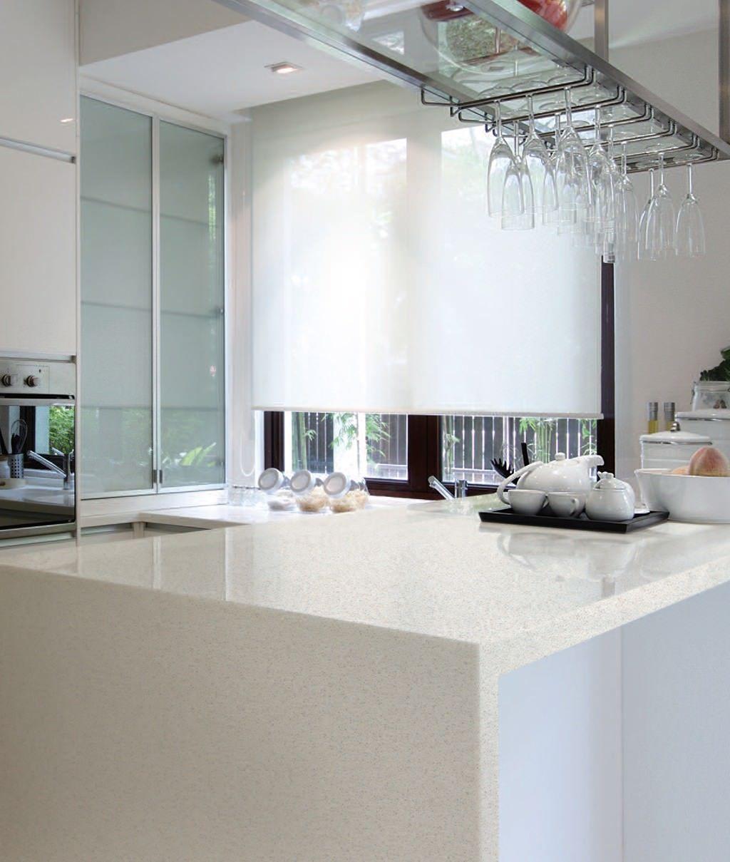 Modern kitchen with snow white quartz counter long peninsula and white - Countertop Viatera Modern Kitchen Ideas Denali Quartz Kitchen White Quartz Waterfall Edge