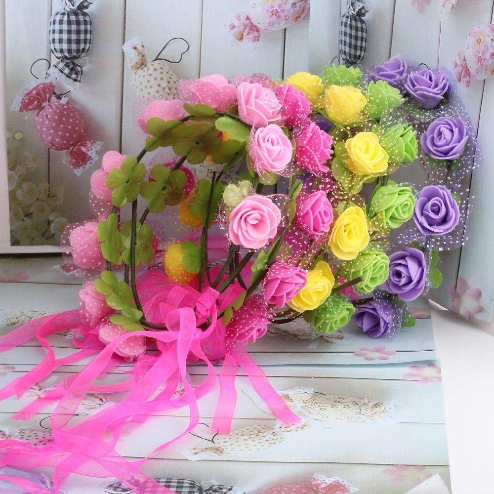Aliexpress.com: Comprar 2015 nuevas mujeres de bohemia Rose flor diadema Kids venda del partido de la guirnalda Floral de la boda con la cinta ajustable accesorios para el cabello diadema de joyas de boda fiable proveedores en Charming Falling