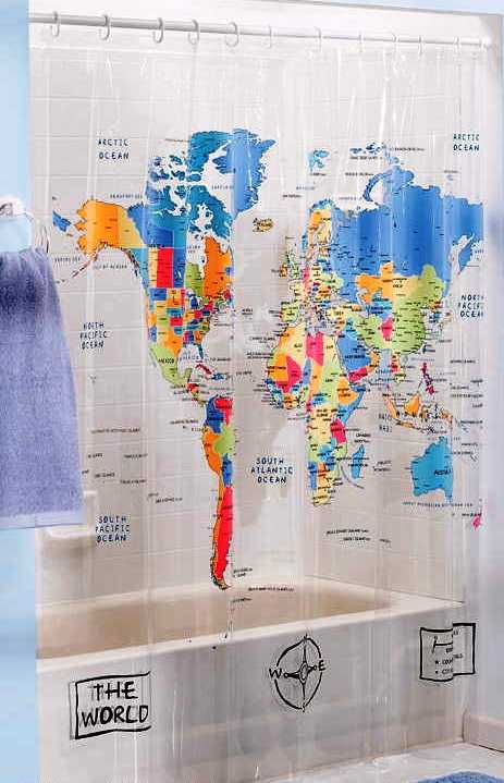 World map shower curtain whiteblueyellow saturday knight ltd the world map shower curtain because yes you can homeschool in your bathroom gumiabroncs Gallery