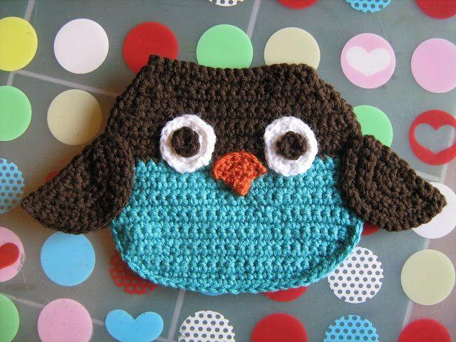 Owl Crocheted Bib
