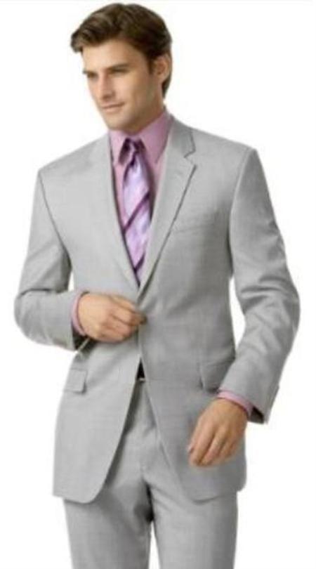 SKU#R&H1 Silver Gray (Very Very Light Gray(Ash)) 2 Button Double ...