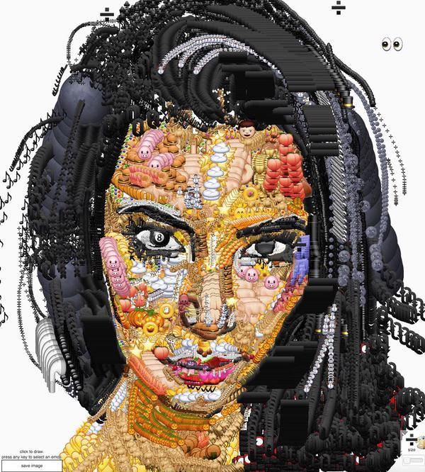 Yung Jake S Emoji Portraits Of Celebrities Emoji Art Celebrity Portraits Emoji Artwork