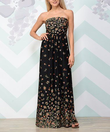 Loving this Black Floral Strapless Maxi Dress on #zulily! #zulilyfinds