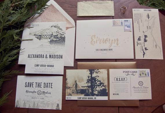 Vintage Oregon Wedding Invitation Set, Timberline, Winter ...