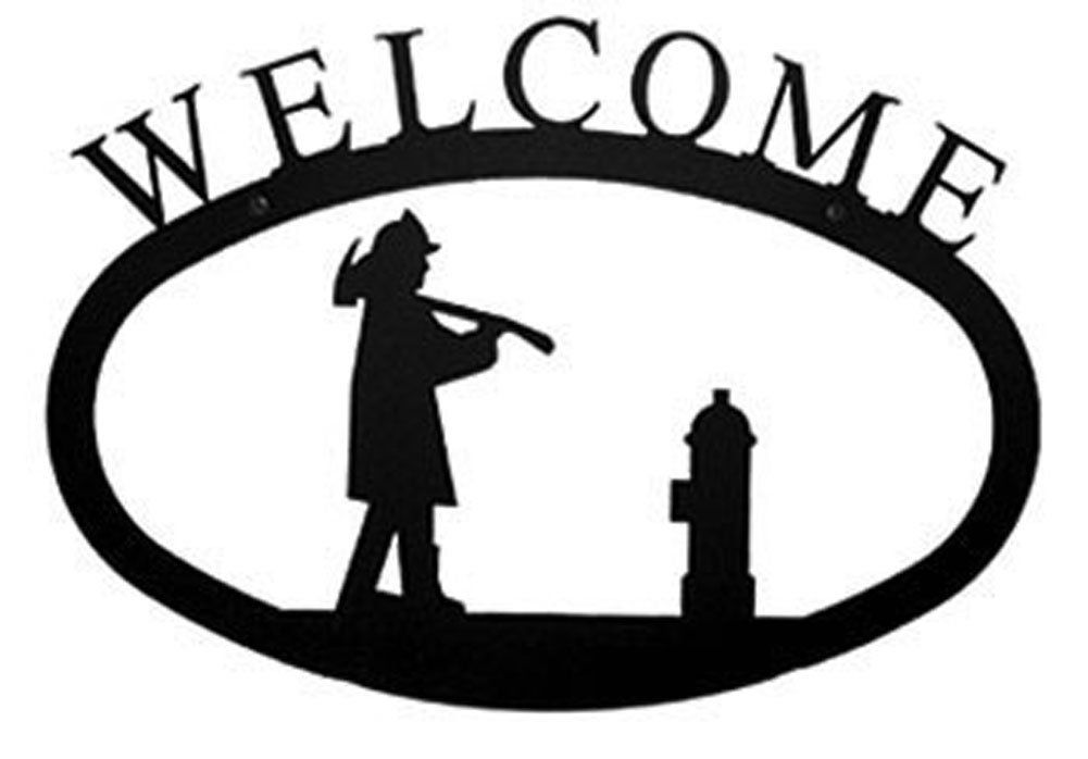 Iron Large Fireman Home Address Welcome Sign Large - Heavy Duty ...