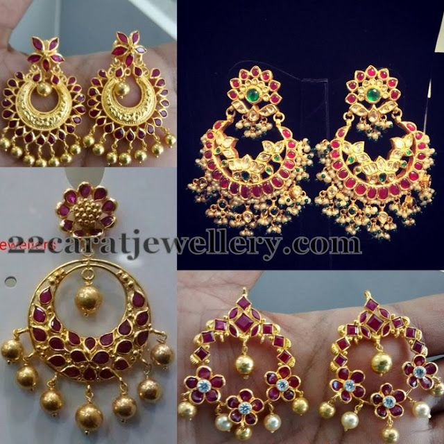 Light Weight Ruby Chandbali Earrings Traditional Gold Jhumkas