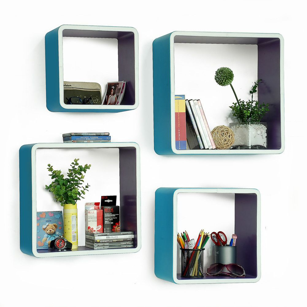 Trista   [My Blue Paradise] Rectangle Leather Wall Shelf / Bookshelf /  Floating Shelf