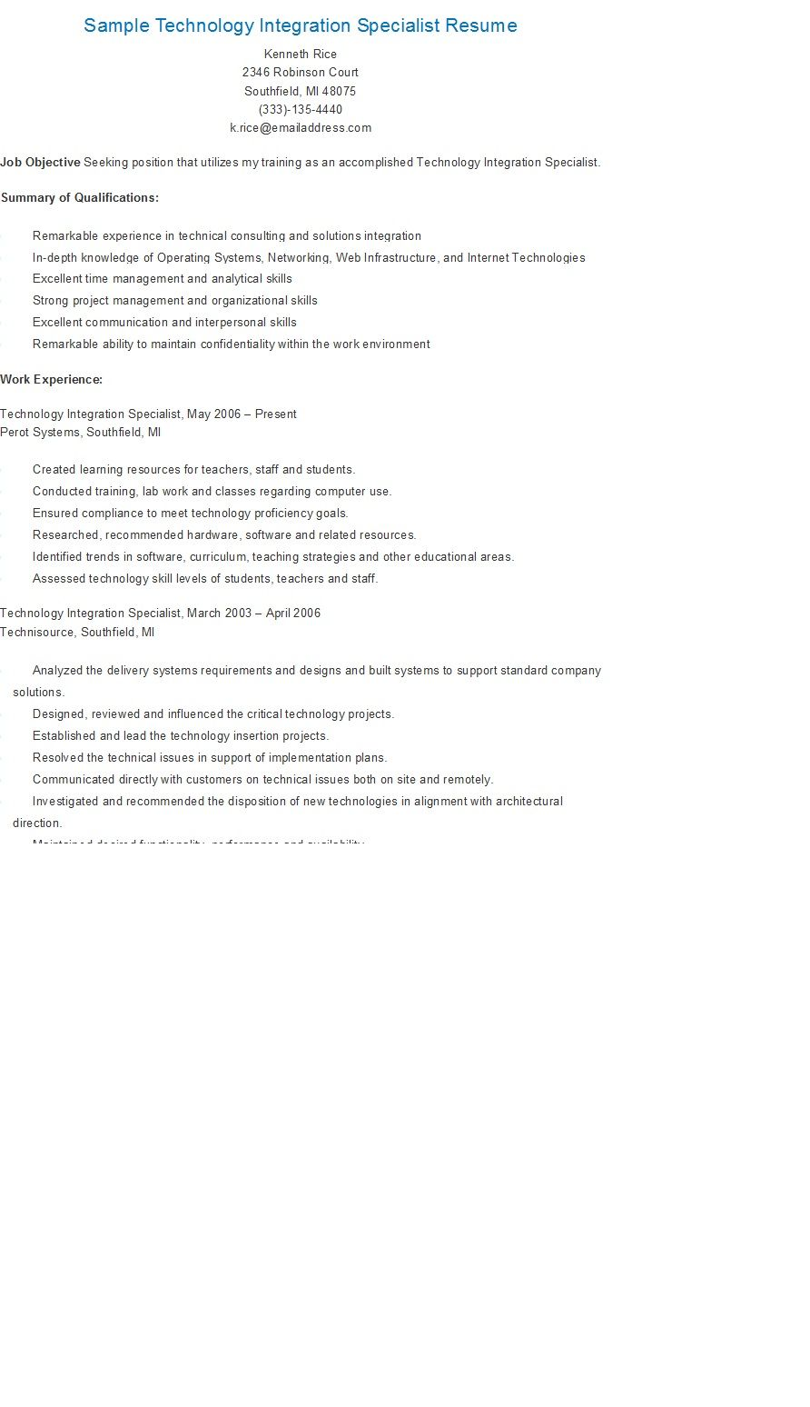 sample technology integration specialist resume resame