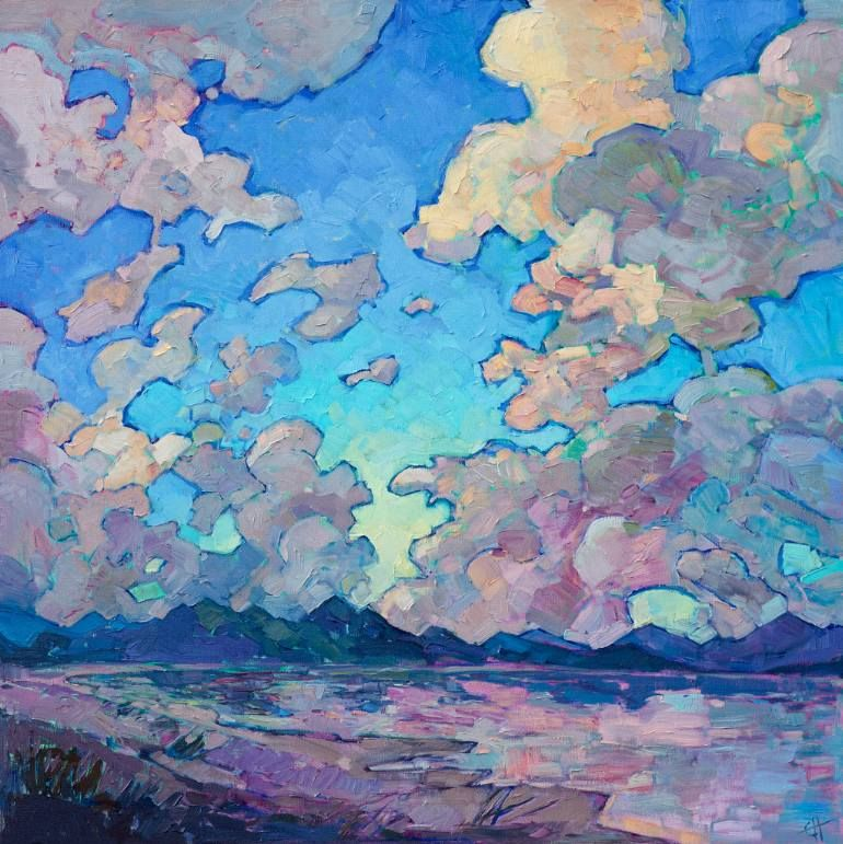 Clouds Above Painting Contemporary Impressionism Expressionist Landscape Erin Hanson