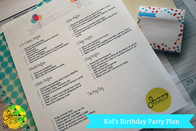 Kid's birthday party plan printable #kids #party #printable