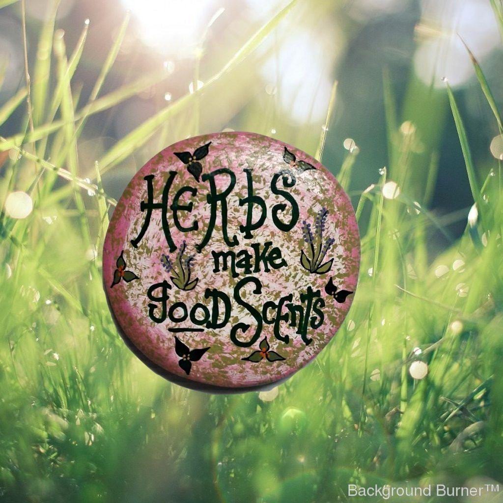 Handmade round cement stepping stone - Herb stepping stone - Garden ...