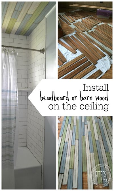 A tutorial on how to install bead board, barn wood, or any other scrap wood on your ceiling