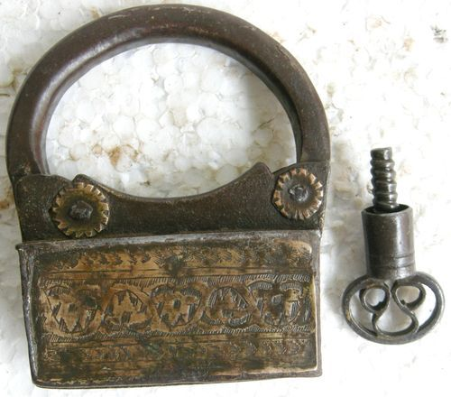 1800s Original Antique Hand Forged Engraved Iron Brass Pad Lock Spring Lever