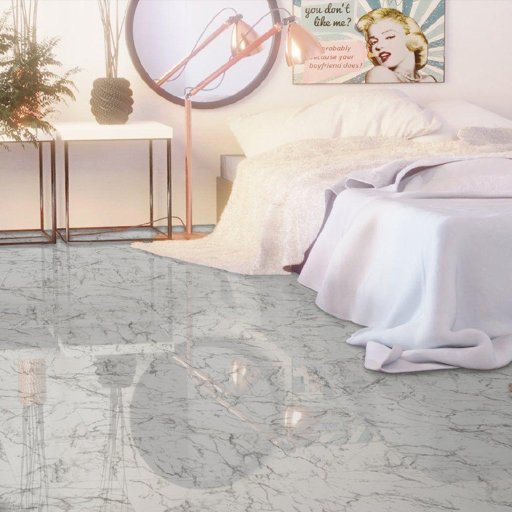 High Gloss 4V Stone Effect 8mm Carrara Marble White High