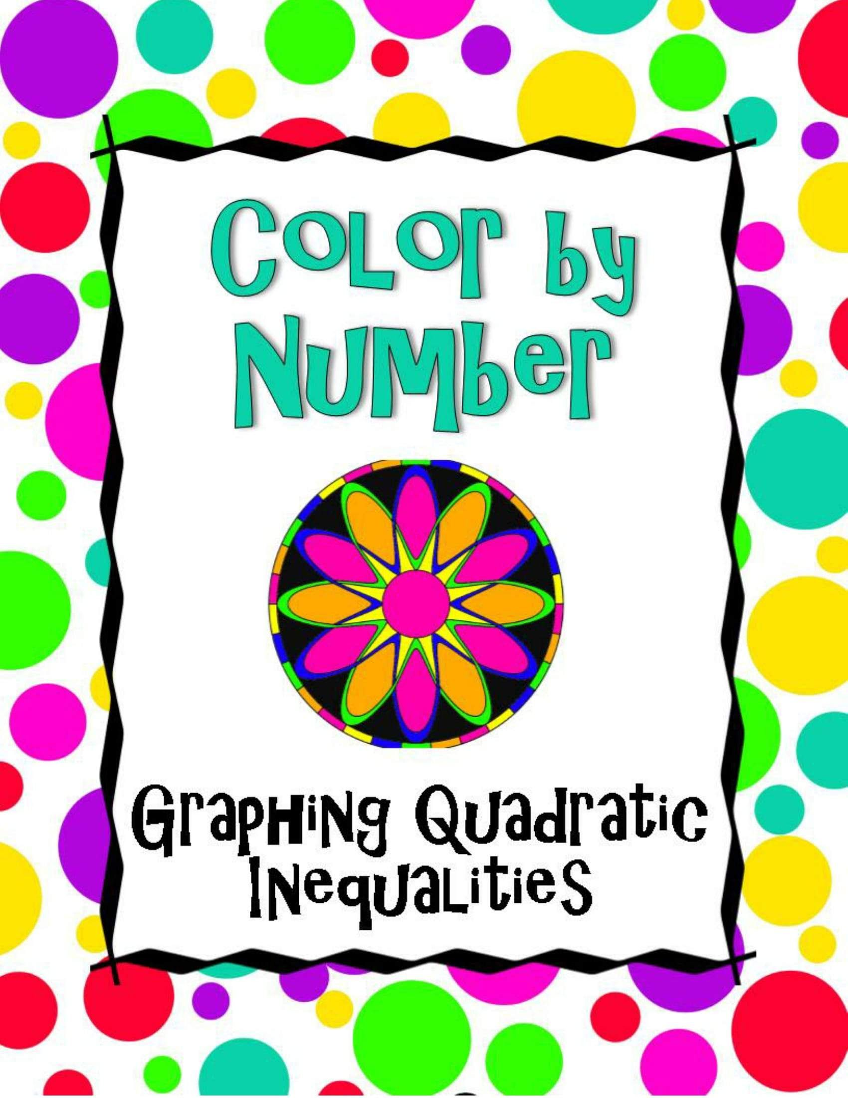 Graphing Quadratic Inequalities Color By Number With