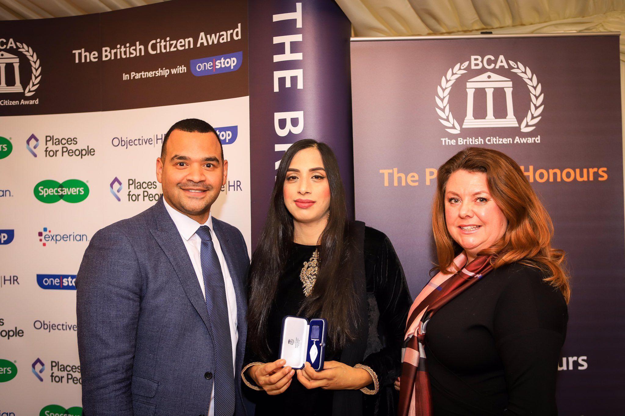 Salma Bi  'Difficult roads often lead to beautiful Destinations' Honoured with The British Citizen Award (BCAe)
