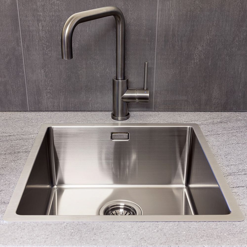 Swell Reginox Miami 40 X 40 Stainless Steel Gunmetal Coloured Sink Interior Design Ideas Apansoteloinfo