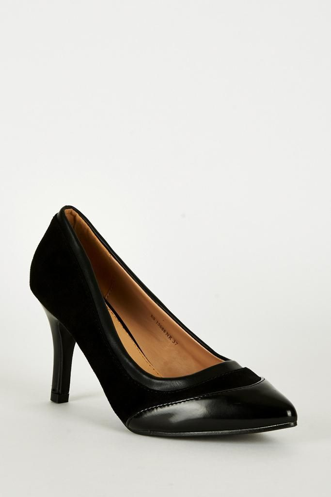 Black Panel Pointed Court Shoes
