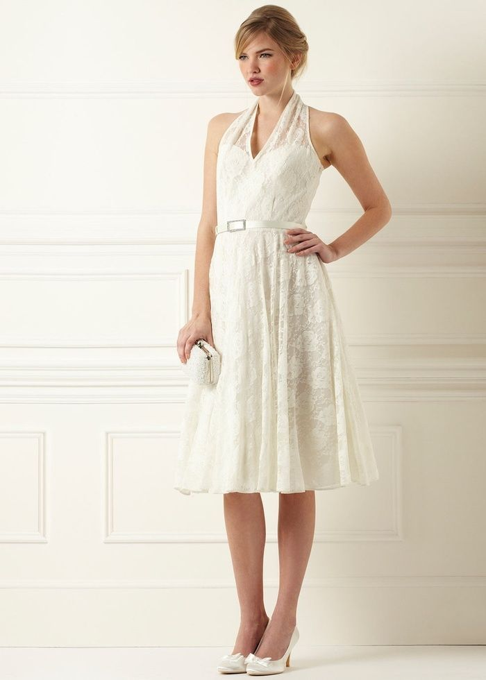 BHS Bridesmaid/Wedding Dress Sarah Halter Neck Size 14 Ivory Lace ...