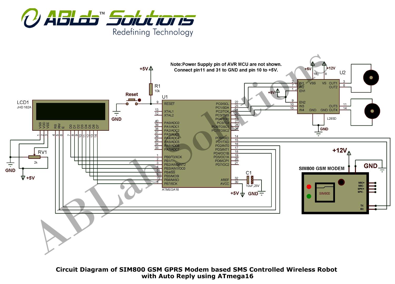SIM800 GSM/GPRS Modem based SMS Controlled Wireless Robot