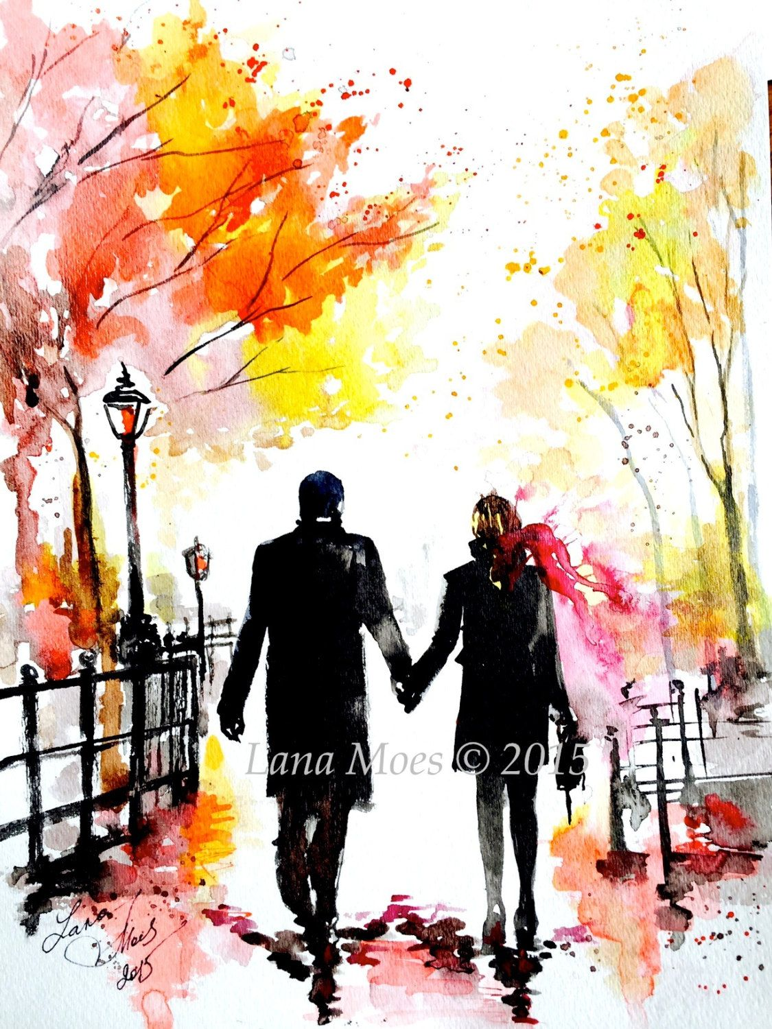 New York Love Watercolor Romantic Painting Of Central Park Art