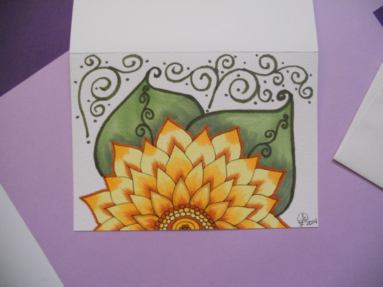 Hand Drawn Flower Greeting Card 5x7 Wenvelope By