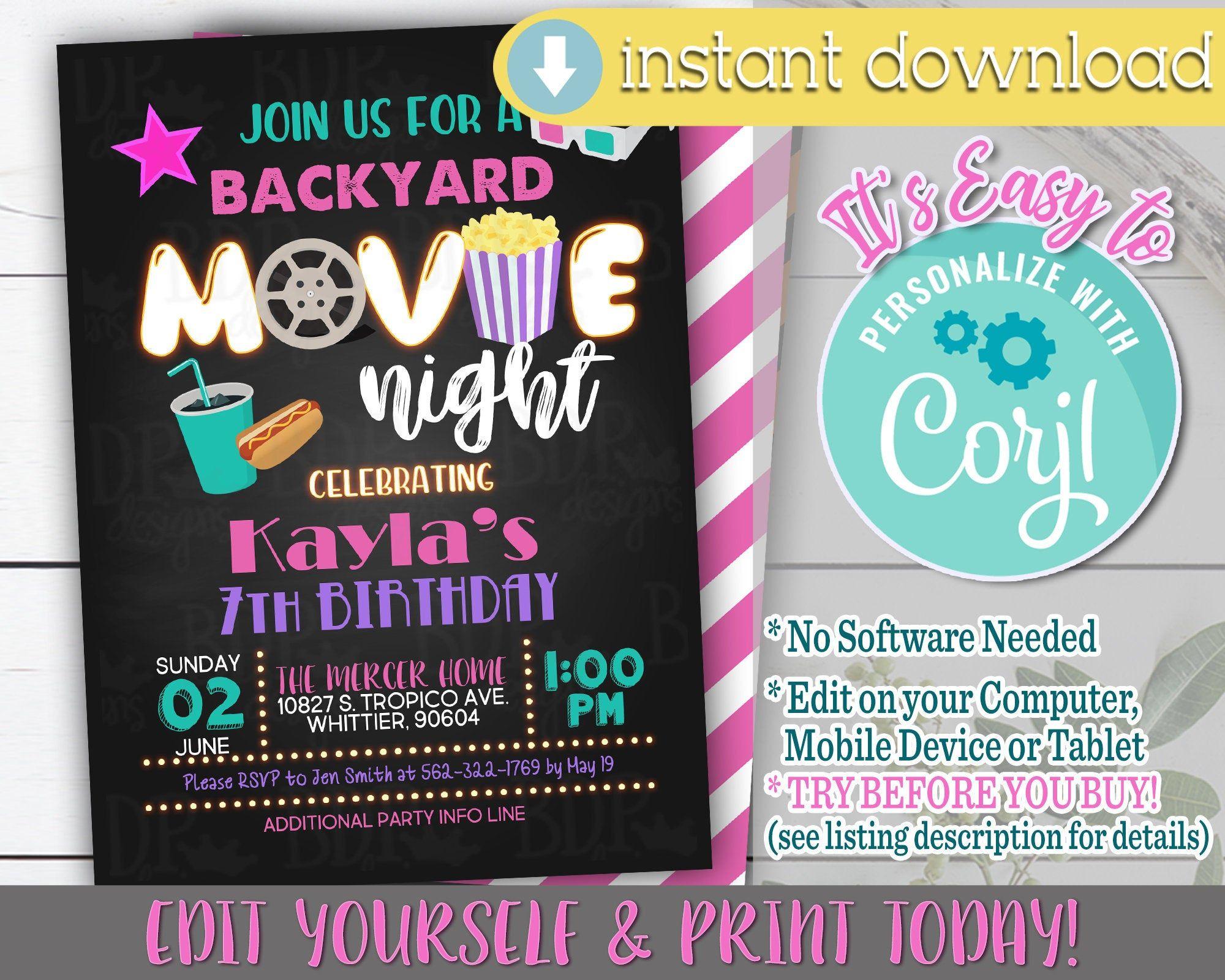 Backyard movie night invitation movie night invitation