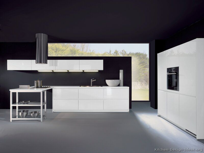 Kitchen Cabinets Modern White Peninsula Hood Black Wall