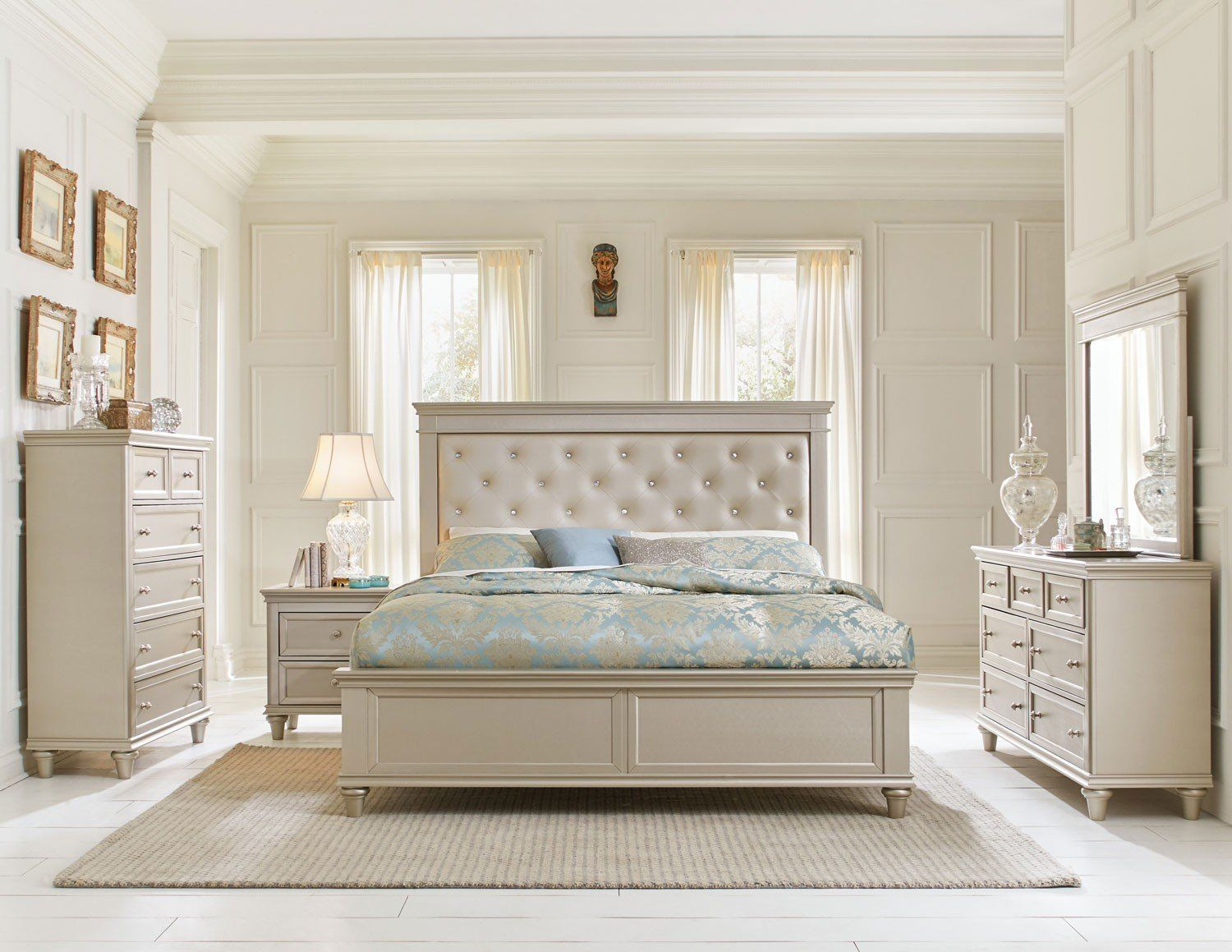 white king bedroom sets. 1928-1 Traditional 4P Silver Wood Queen Bedroom Set Tufted Pearl Vinyl White King Sets