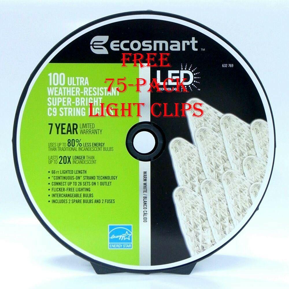 Ecosmart 100 Ultra Super Bright Led Warm White C9 Christmas Free Lights Clips Ecosmart Light Clips Bright Led Warm White