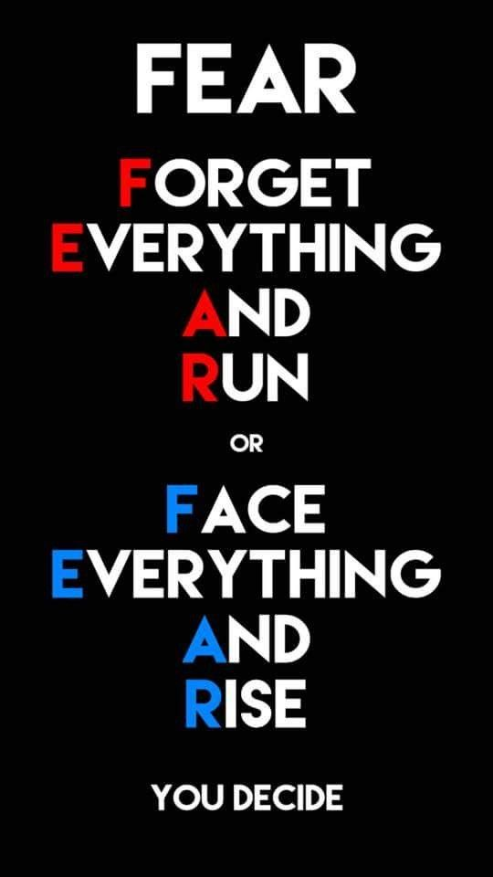 F E A R - FORGET EVERYTHING AND RUN OR FACE EVERYTHING AND RISE YOU DECIDE