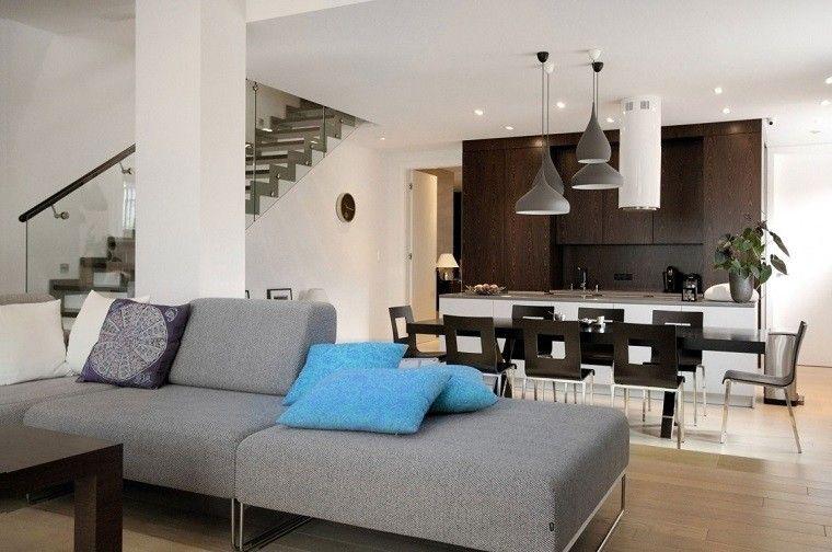 diseno cocinas abiertas salon armarios madera ideas | Interiores ...