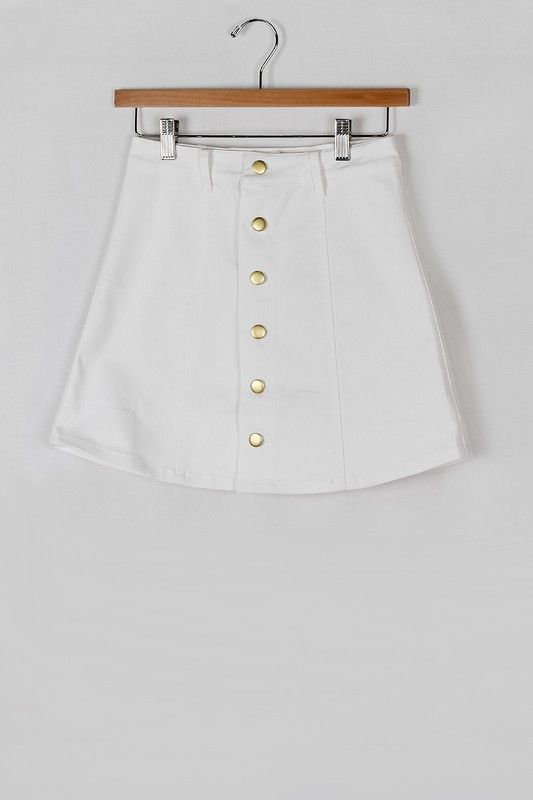 WHITE DENIM A-LINE SKIRT