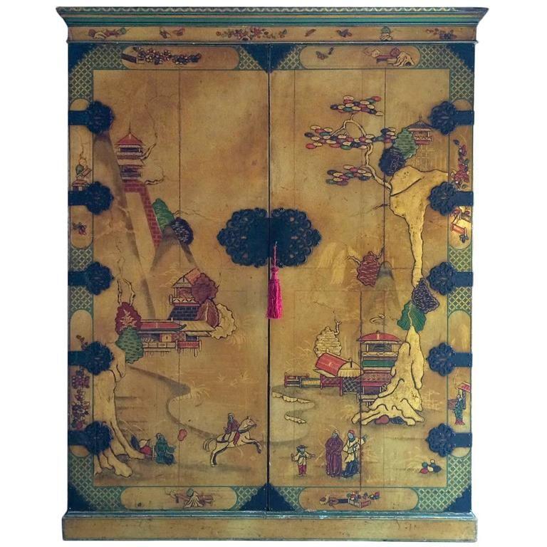 Antique Chinoiserie Wardrobe Armoire Lacquer Oriental Japanese - Antique Chinoiserie Wardrobe Armoire Lacquer Oriental Japanese