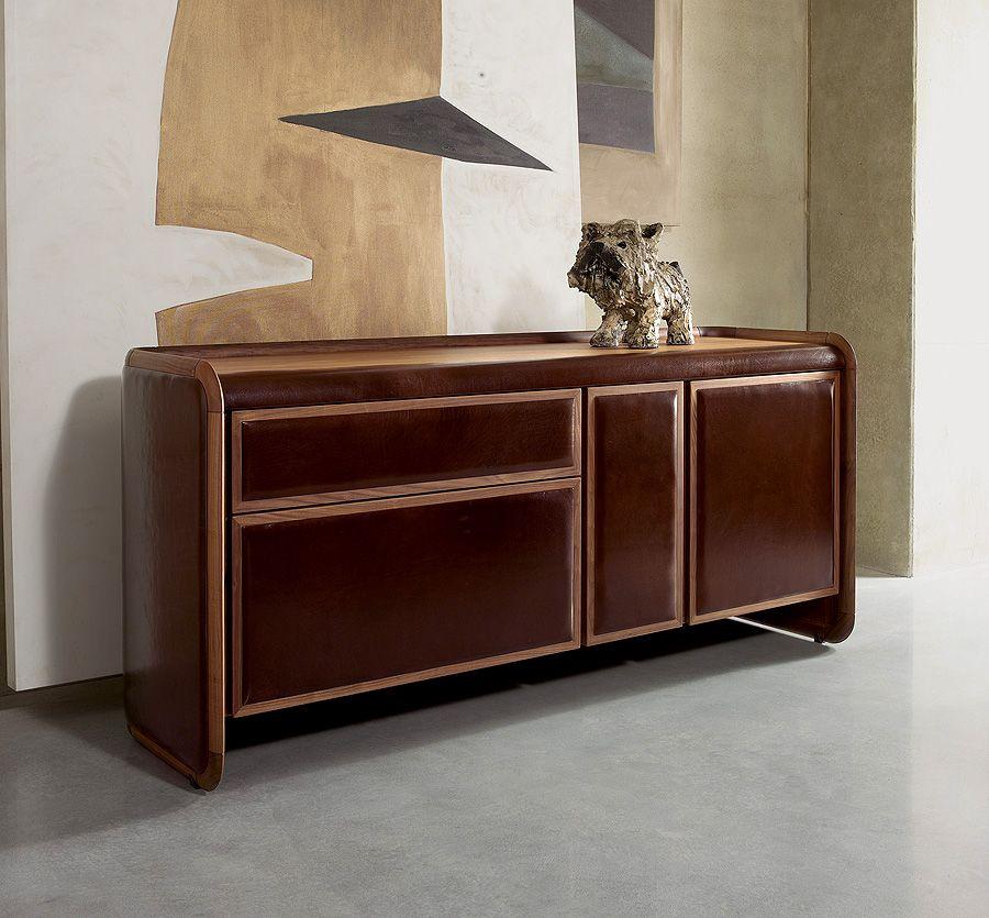 Credenzas Sideboards Leather Upholstered Sideboard Credenza