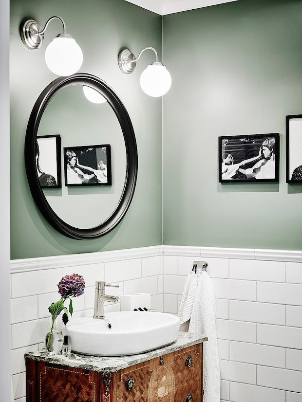 The white tiling, mixed shades of silver, exquisite lighting, and unique sink ar... -  The white tiling, mixed shades of silver, exquisite lighting, and unique sink are making sage green - #antiqueFrenchDecor #Exquisite #FrenchDecorapartment #FrenchDecorideas #FrenchDecoronabudget #FrenchDecorparty #lighting #Mixed #shades #Silver #sink #tiling #unique #victorianFrenchDecor #white