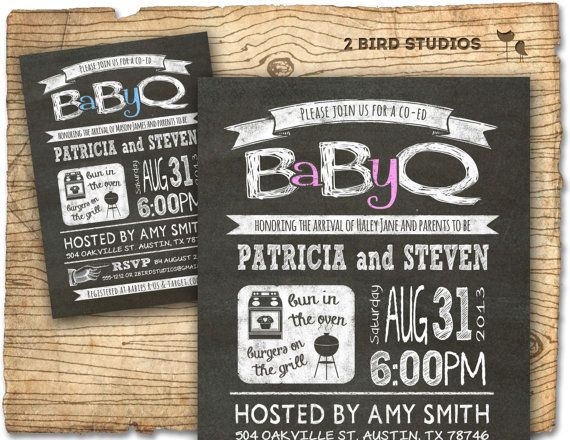Baby Q Baby shower invitation - COED baby shower invite - Couples ...