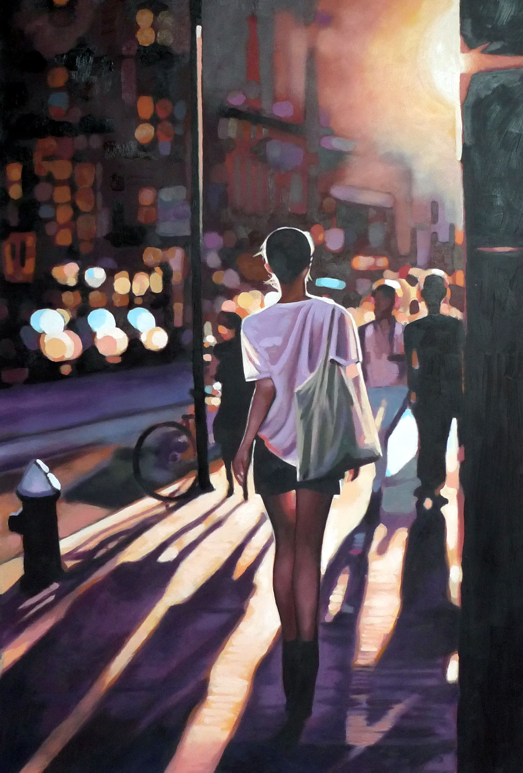 A girl walking in NY street. Oil on Canvas
