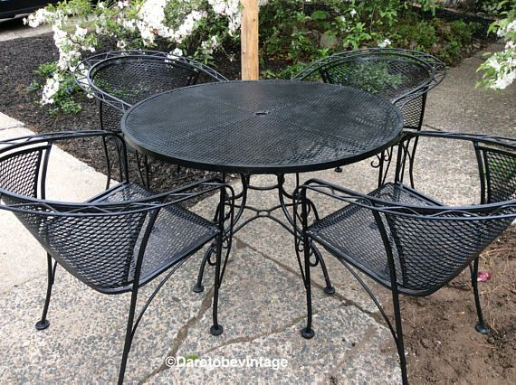 Mid Century Salterini Russell Woodard Wrought Iron Patio Set