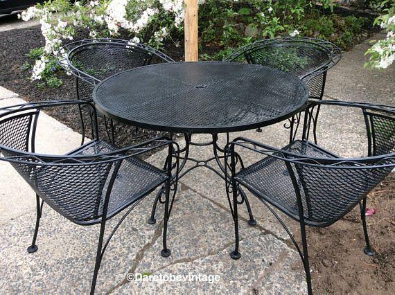 wrought iron patio furniture Mid Century Salterini Russell Woodard Wrought Iron Patio