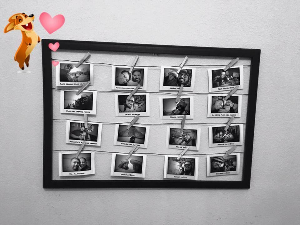Marco y alambre reciclado con lindos recuerdos en fotos tipo ...