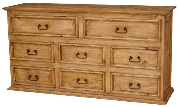 Mexican Pine Rustic Furniture Large Dresser