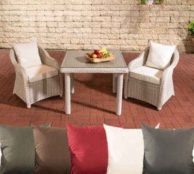 Polyrattan Sitzgruppe SAN JUAN, perlweiß, Klarglas, 3 Tischgrößen - gartenmobel polyrattan eckbank