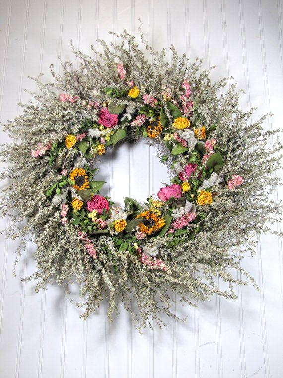 Dried Floral Wreath Wreath Dried Flowers Spring Decor