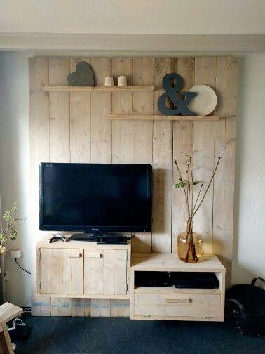 tv meubel wand steigerhout wonen pinterest. Black Bedroom Furniture Sets. Home Design Ideas