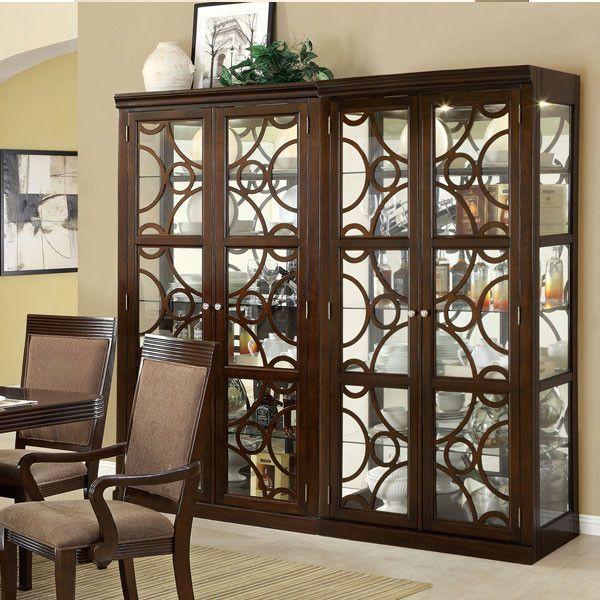 Woodmont Elegant Style Walnut Finish Formal Dining China Cabinet